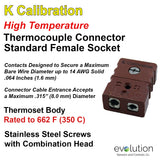 Standard Thermocouple Connectors, Standard High Temperature Female, Type K