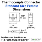 Type K Standard Size Female Thermocouple Connector Dimensions