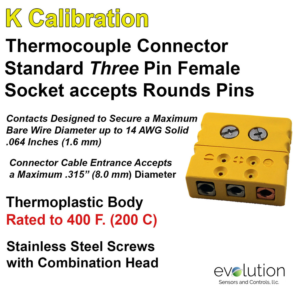 Standard Thermocouple Connectors, Standard Three Pin Female, Type K