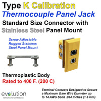 Thermocouple Panel Jack - Type K Standard Size Connector