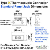 Thermocouple Panel Jack - Type K Standard Size Connector Dimensions