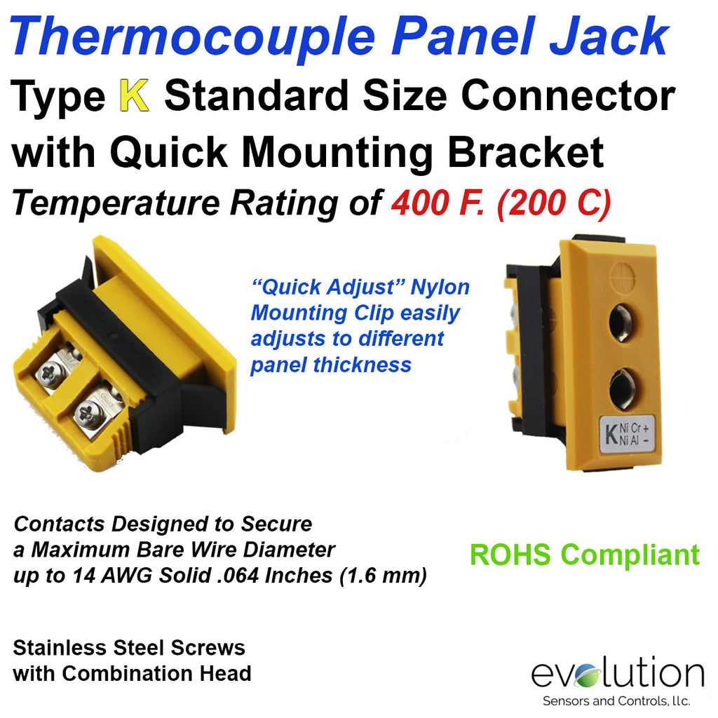 Thermocouple Panel Jack | Type K Standard Size Connector