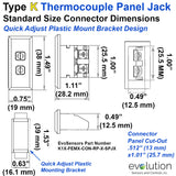 Thermocouple Panel Jack | Type K Standard Size Connector Dimensions