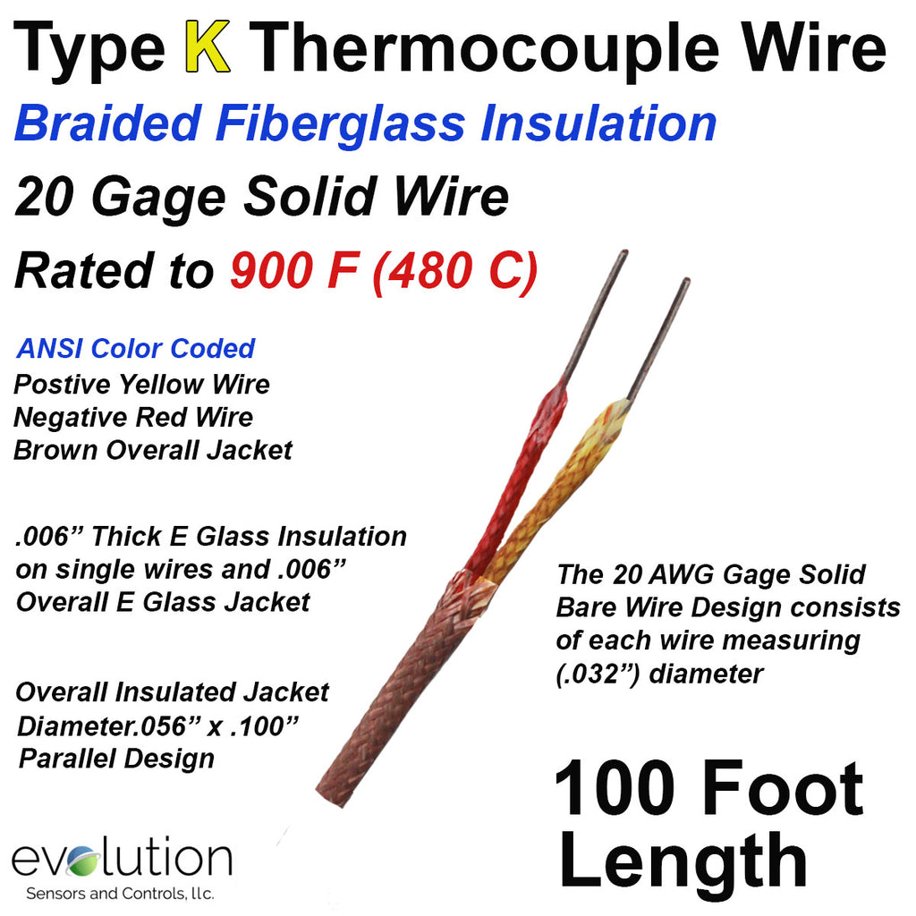 Type K Thermocouple Wire with Fiberglass Insulation 20 Gage Solid