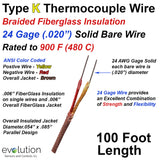 Type K Thermocouple Wire with Fiberglass Insulation 24 Gage Solid