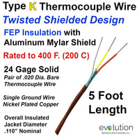 Type K Thermocouple Wire Twisted Shielded 24 Gage Solid with FEP Insulation - 5 ft Length