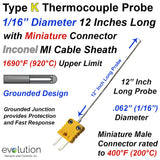 "K Type Thermocouple Probe 1/16"" Diameter with Miniature Connector"