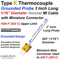 Type K Thermocouple Probe 3 Inch Long 1/16 Inconel Sheath Grounded
