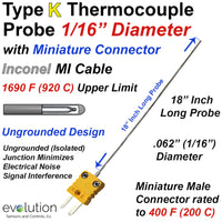 Type K Thermocouple Probe with Miniature Connector Inconel 1/16 Diameter