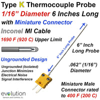 Type K Thermocouple Probe with Miniature Connector 1/16