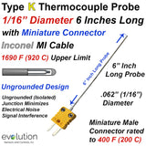 "Type K Thermocouple Probe with Miniature Connector 1/16"" Diameter Inconel Sheath 6 Inches Long Ungrounded Junction"