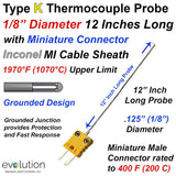 "Type K Thermocouple Probe Inconel Sheath 1/8"" Diameter 12 inches Long"