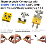 Thermocouple Connector Miniature Male Type K with Integral Cable Clamp Assembly