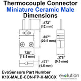 Miniature Male Ceramic Thermocouple Connector Dimensions Type K