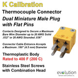 Miniature Thermocouple Connectors, Miniature Duplex Male, Type K