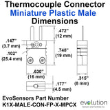 Miniature Thermocouple Connector | Type K Male Plug Dimensions