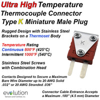 Ultra High Temperature Thermocouple Connector Type K Miniature Male
