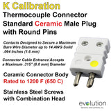 Standard Thermocouple Connectors, Standard Ceramic Male Solid Pins, Type K