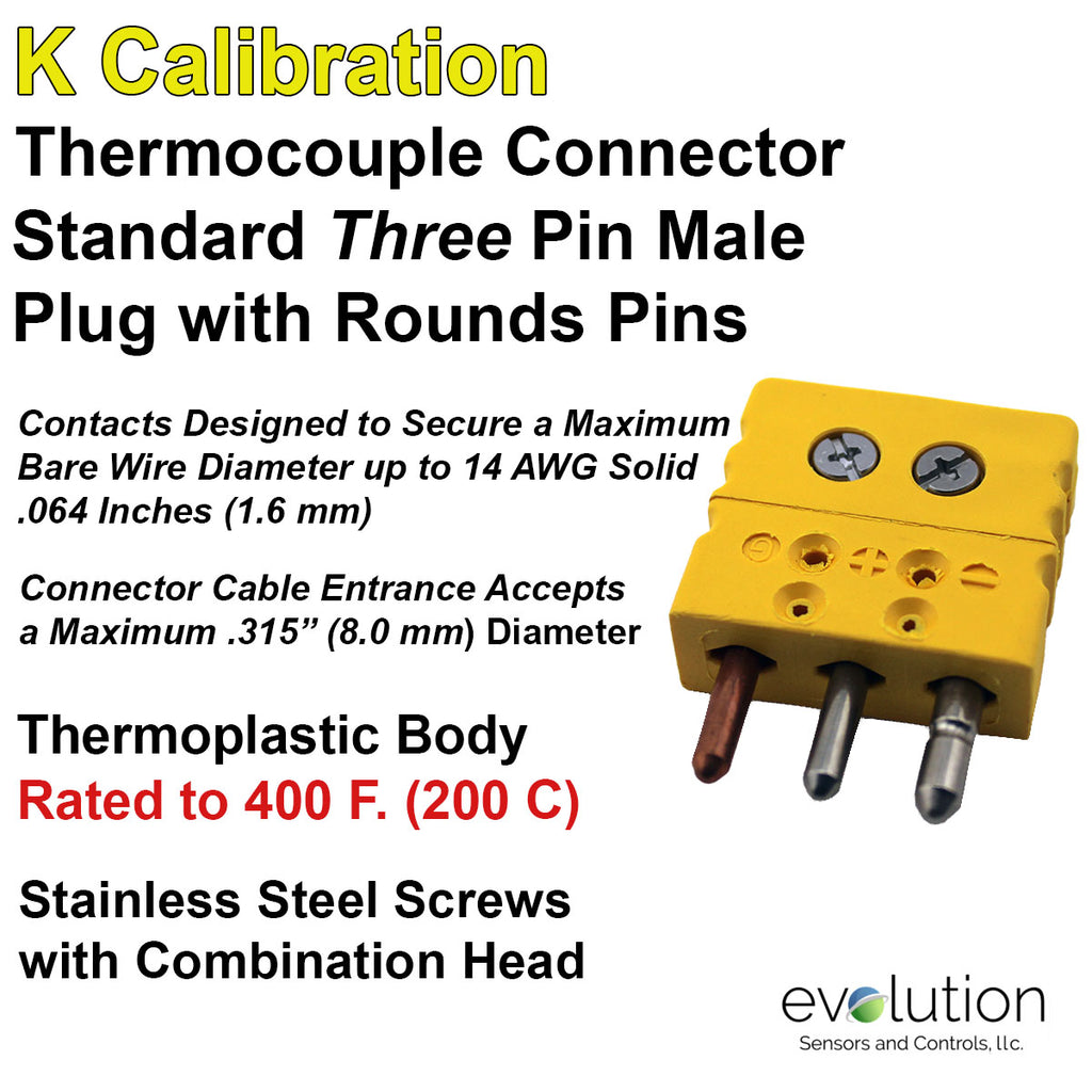 Standard Thermocouple Connectors, Standard Three Pin Male, Type K