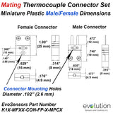 Set of Type K Miniature Male and Female Thermocouple Connectors Dimensions