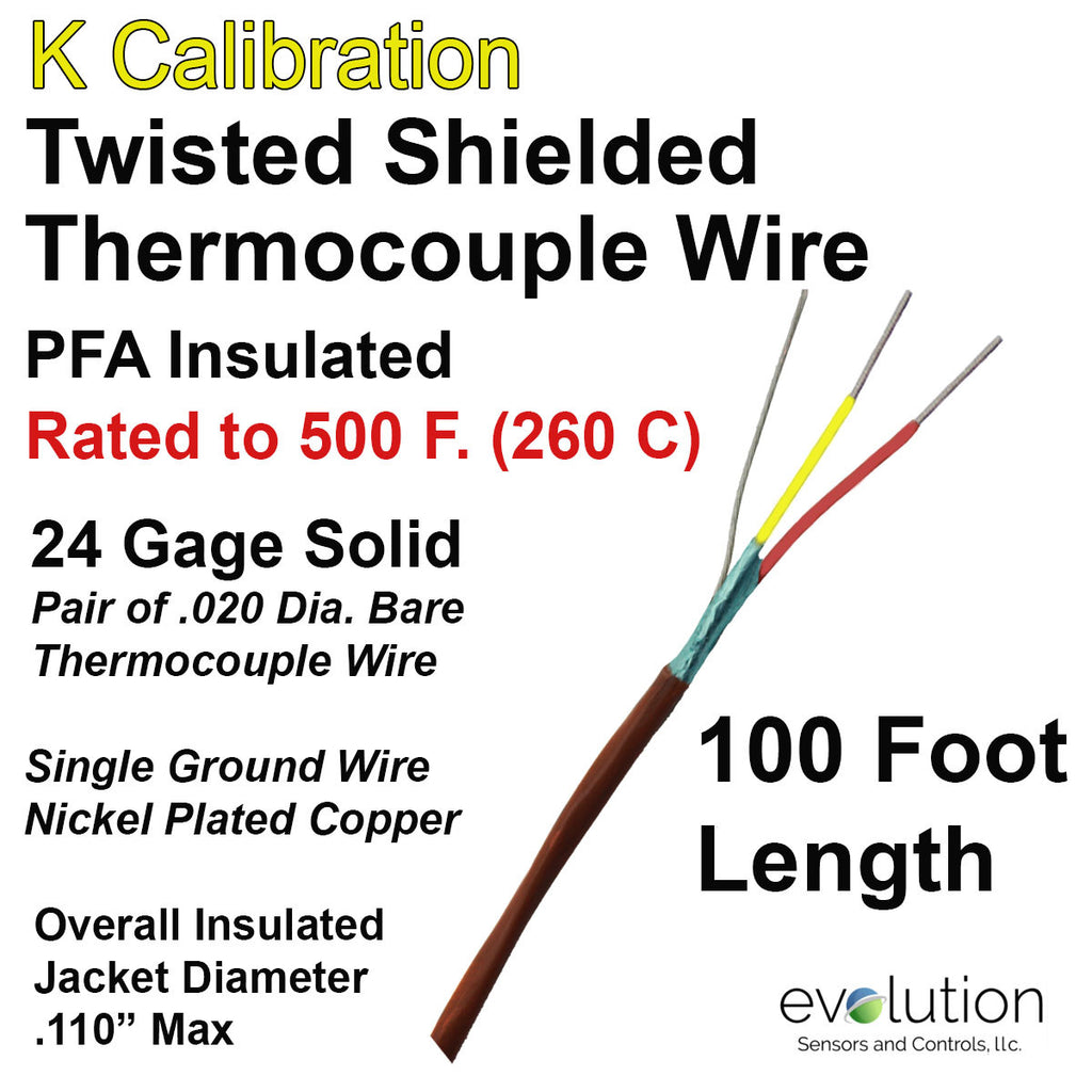 Twisted Shielded Type K 24 Gage Thermocouple Wire PFA Insulated 100 ft Long