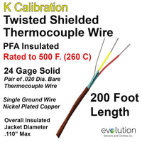 Twisted Shielded Type K 24 Gage Thermocouple Wire PFA Insulated 200 ft Long