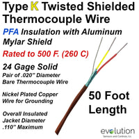 Twisted Shielded Type K 24 Gage Thermocouple Wire PFA Insulated 50 ft