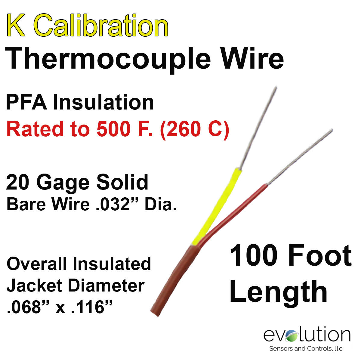 Thermocouple Wire Type K 20 Gage PFA Insulated 100 ft Long ...