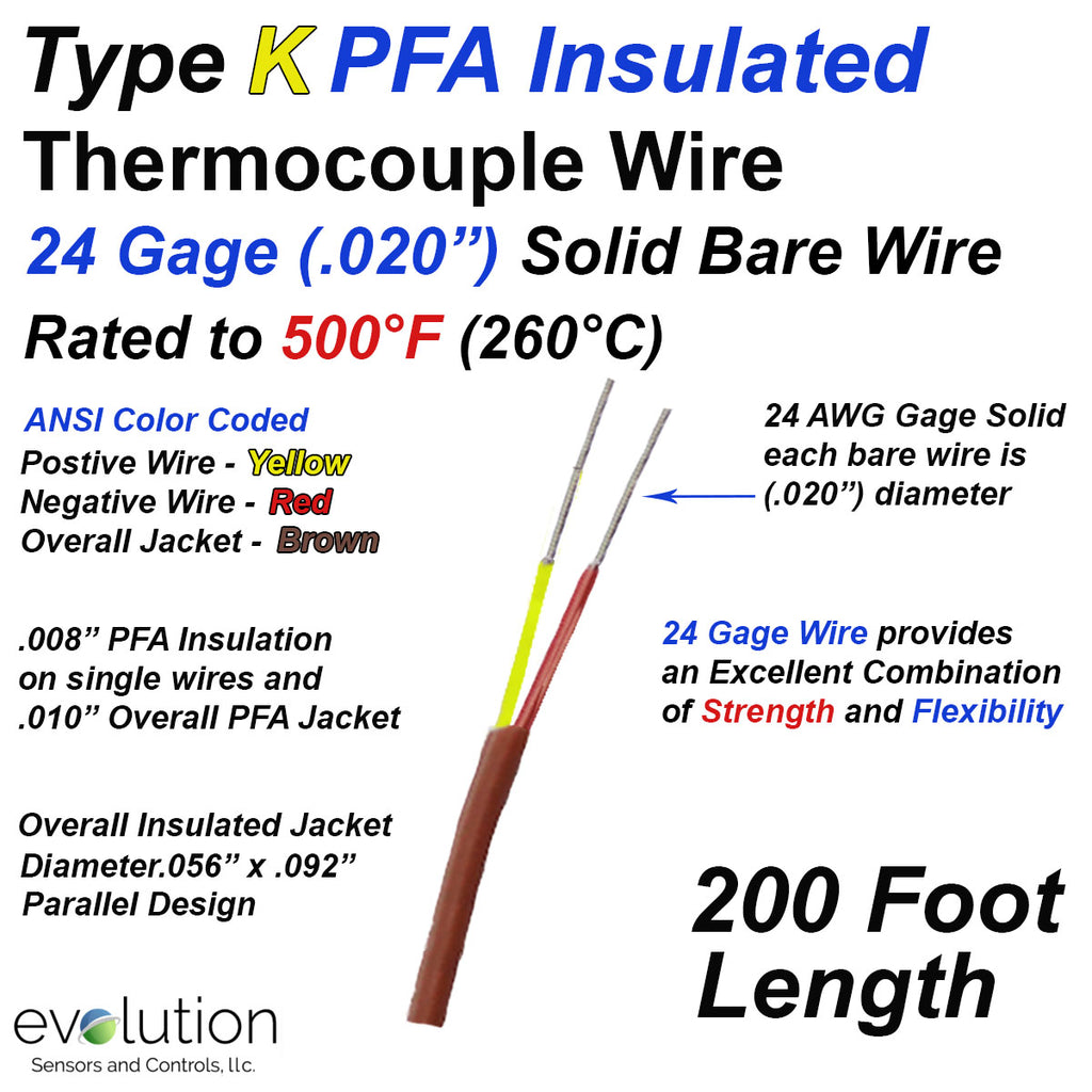 Type K PFA Insulated Thermocouple Wire 24 Gage Solid 200 ft Long