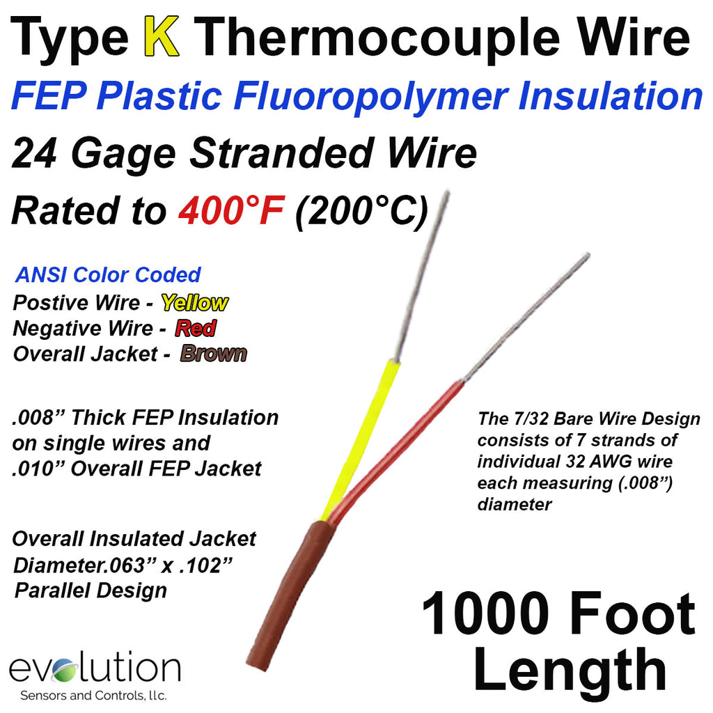 FEP Insulated Thermocouple Wire Type K 24 Gage Stranded 1000 ft. long
