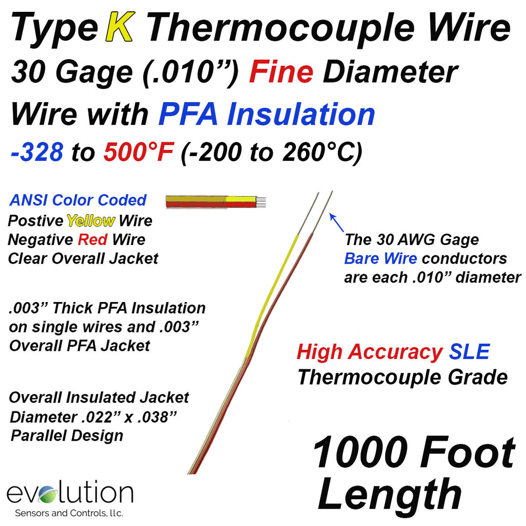 Type K Thermocouple Wire Fine Diameter PFA Insulated 1000ft Long