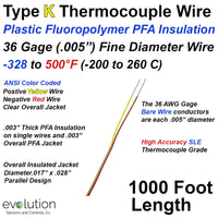 Type K Thermocouple Wire PFA Insulated 36 Gage 1000 ft SLE Accuracy