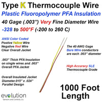 Fine Diameter Type K Thermocouple Wire 40 Gage PFA Insulated 1000 ft