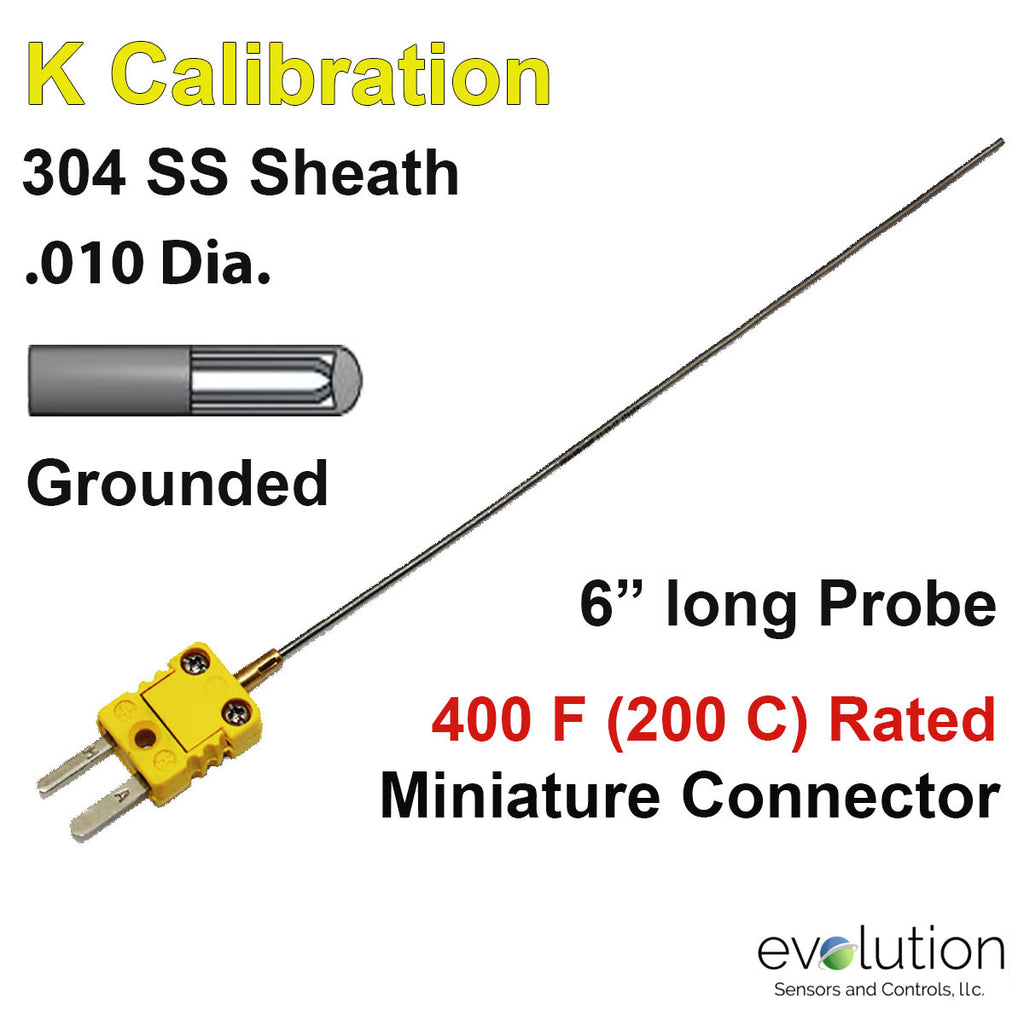 "Thermocouple Sensor Type K Grounded 6"" Long .010"" Dia. Stainless Steel Sheath with Miniature Connector"