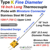 Fine Diameter Thermocouple Type K 18 Inches Long with Connector