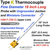 .020 Diameter Thermocouple | Type K 18 Inches Long with Connector
