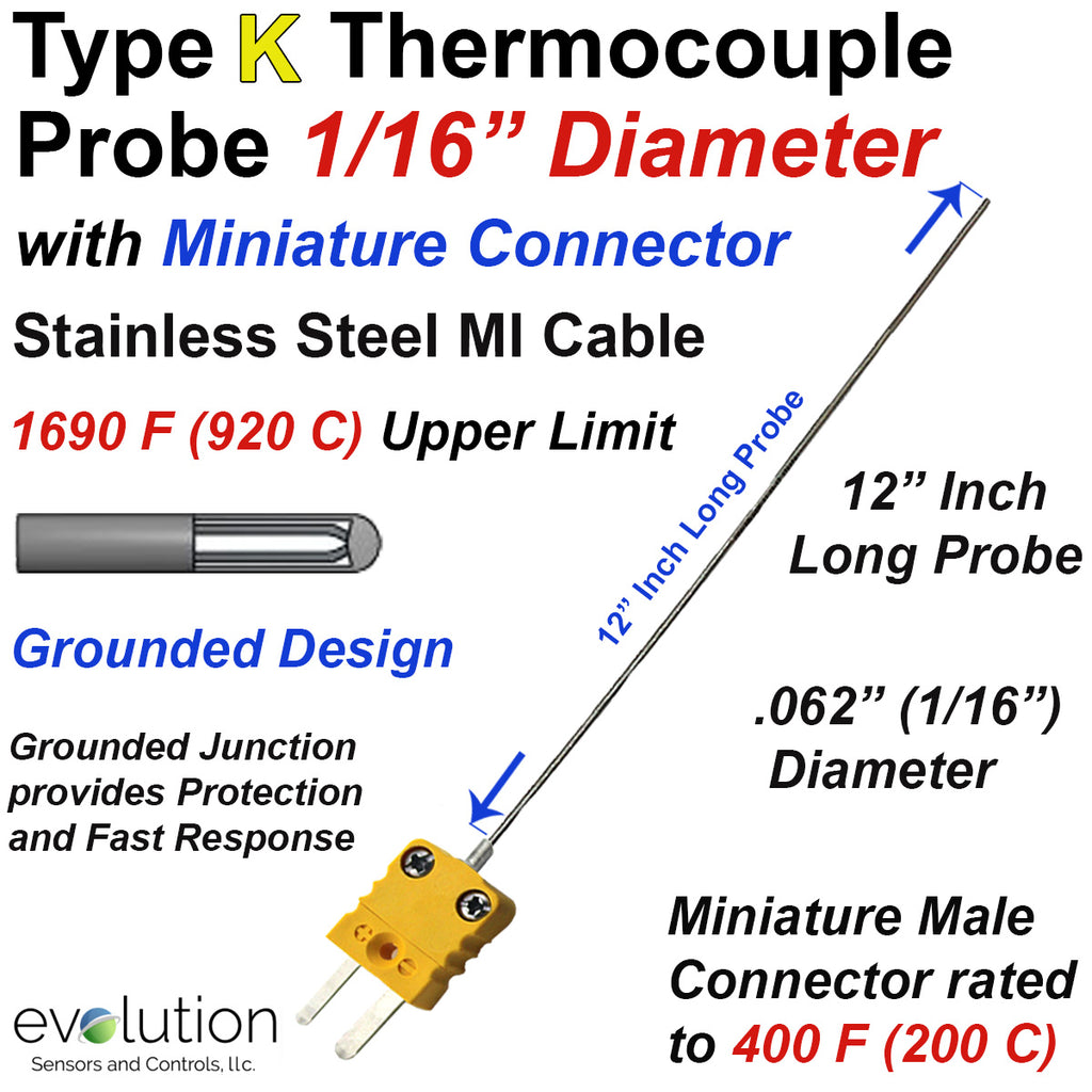 "Thermocouple Probe | Type K Grounded 12"" Long 1/16"" Stainless Steel with Miniature Connector"