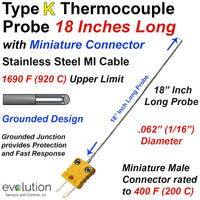 Type K Thermocouple Probe 18 Inches Long 1/16 Diameter Grounded with Connector