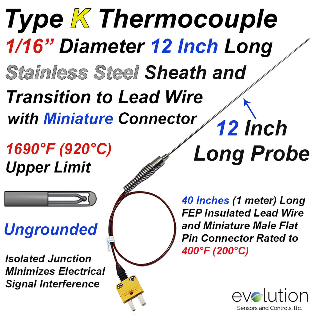 Type K Thermocouple Probe 1/16 Diameter 12 Inches Long with Lead Wire