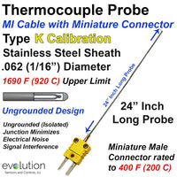 Type K Thermocouple Ungrounded Probe 1/16