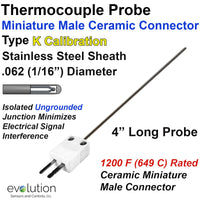 Thermocouple Probe with Miniature Ceramic Connector Type K 1/16