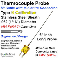 Type K Thermocouple Probe 1/16