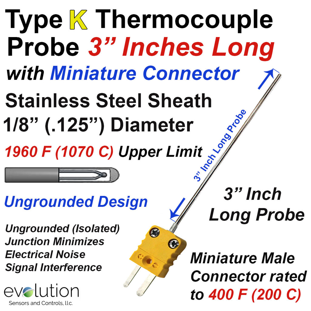 "Type K Thermocouple Probe 3 Inches Long 1/8"" Diameter with Mini Connector"