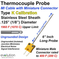 Type K Thermocouple MI Cable Probe Stainless Steel Sheath Ungrounded 1/8