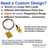 Custom Surface Thermocouples with Self Adhesive Backing