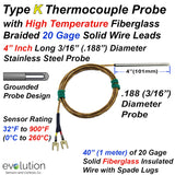 Type K Thermocouple Probe 4 Inches Long 1/8 Diameter with Fiberglass Leads