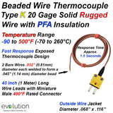 Thermocouple Beaded Wire Sensor Type K 20 Gage PFA Insulated 40 inches long with Miniature Connector
