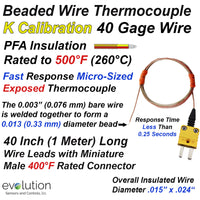 Type K Fine Wire 40 Gage PFA Insulated Thermocouple