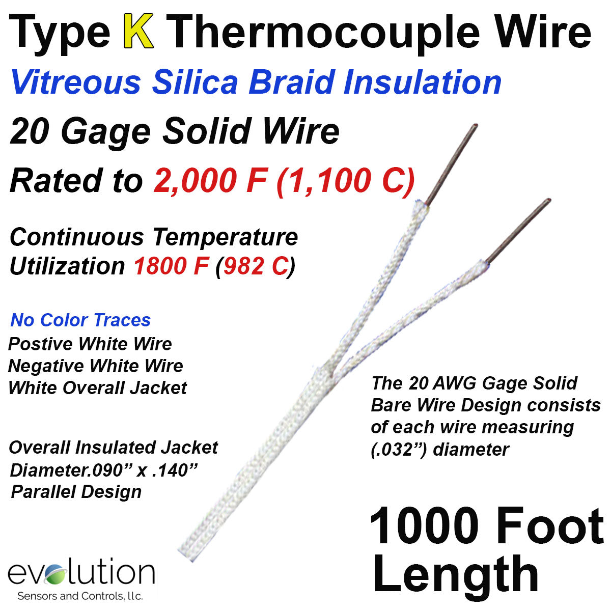 K-Type Thermocouple Wire PK-1000 Temperature Sensor Probe w High Temperature Ceramic Fiber Insulation 1832 F or 1000 C Extra Long 100 inch