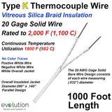 Type K Thermocouple Wire with High Temperature Vitreous Silica Braid
